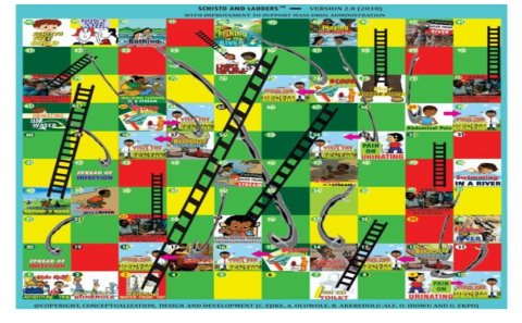Schisto and ladders version 2 was designed to encourage school children to participate in praziquantel treatment in their schools. It contains health education messages that encourage uptake of praziquantel MDA.